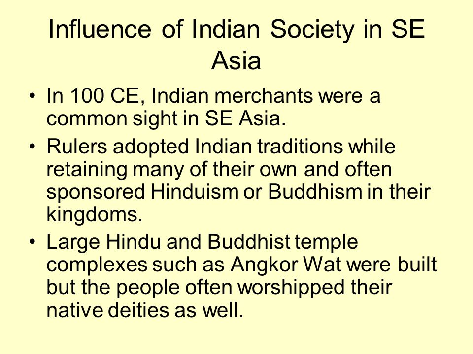 Influence of Indian Society in SE Asia