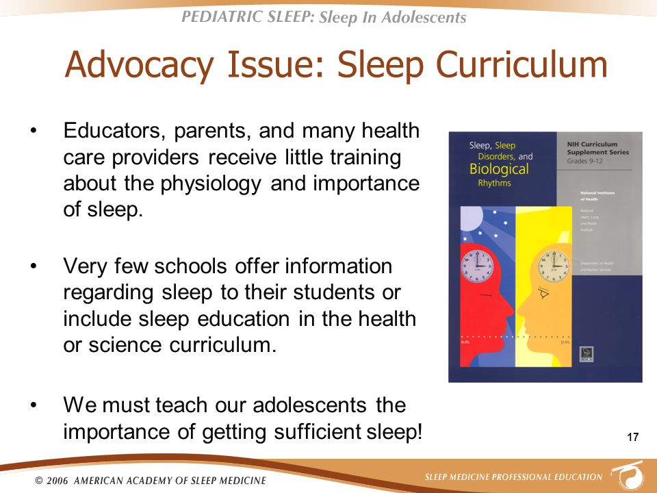 Advocacy Issue: Sleep Curriculum