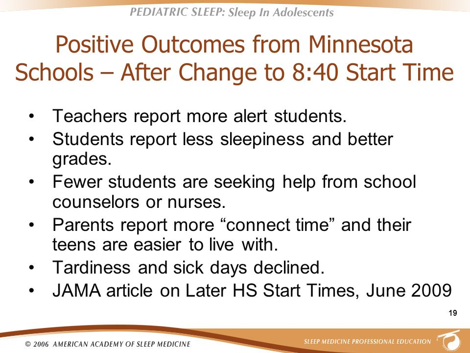 Positive Outcomes from Minnesota Schools – After Change to 8:40 Start Time