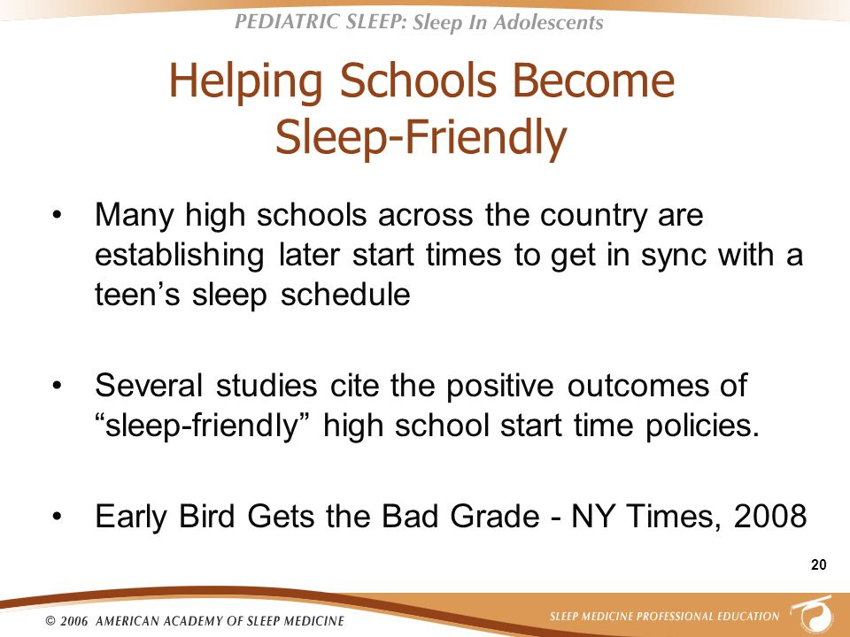 Helping Schools Become Sleep-Friendly