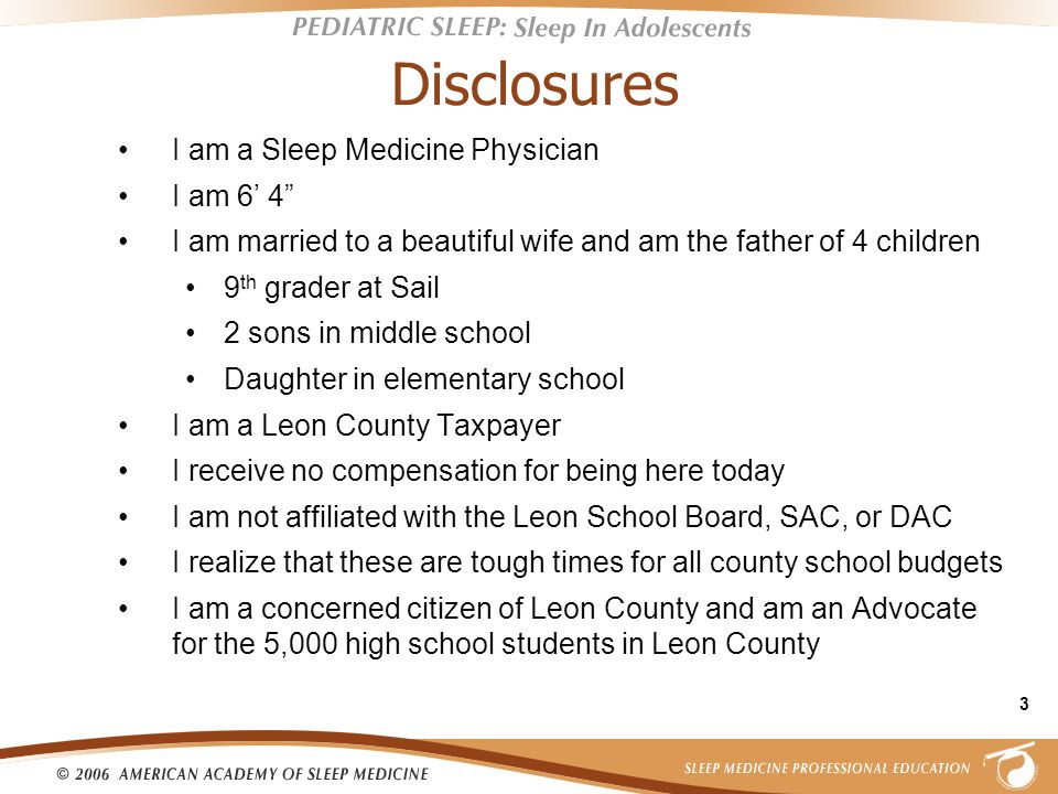 Disclosures I am a Sleep Medicine Physician I am 6' 4
