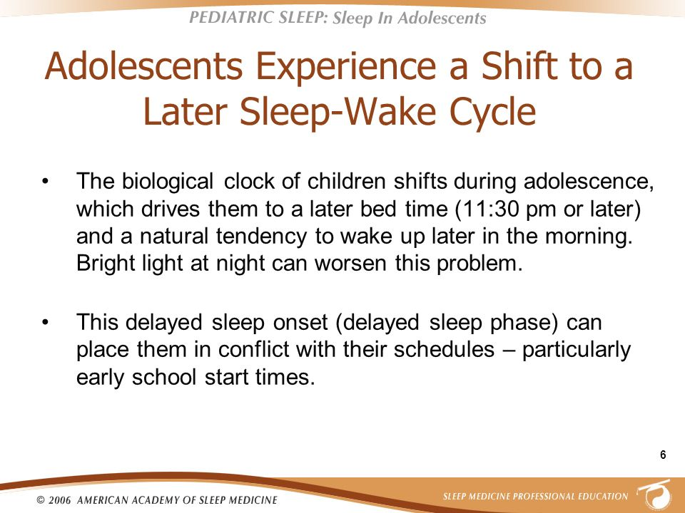 Adolescents Experience a Shift to a Later Sleep-Wake Cycle