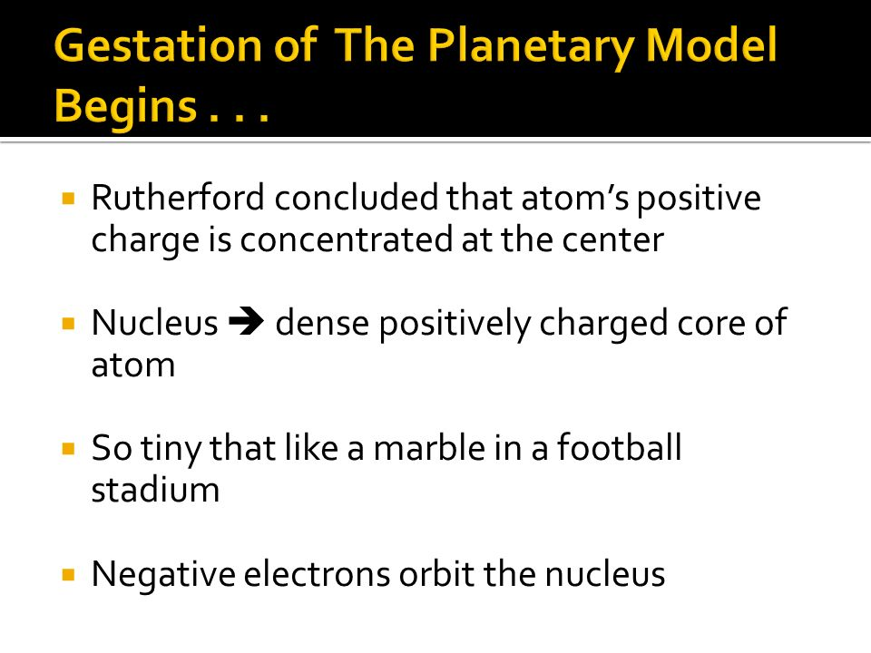 Gestation of The Planetary Model Begins . . .