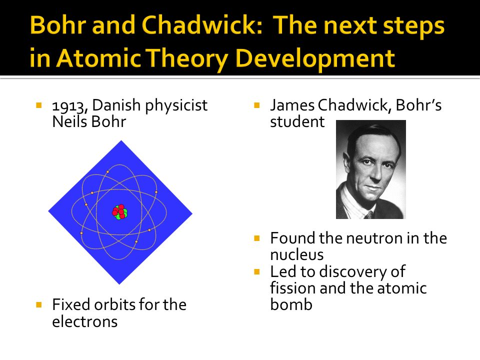 Bohr and Chadwick: The next steps in Atomic Theory Development