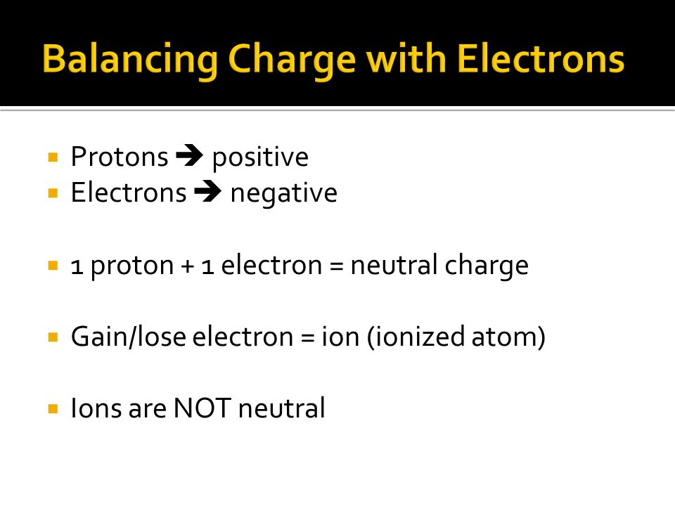 Balancing Charge with Electrons