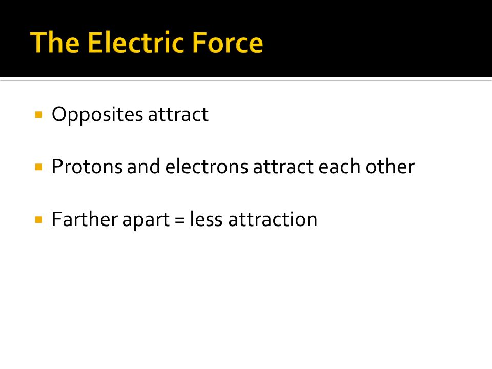 The Electric Force Opposites attract