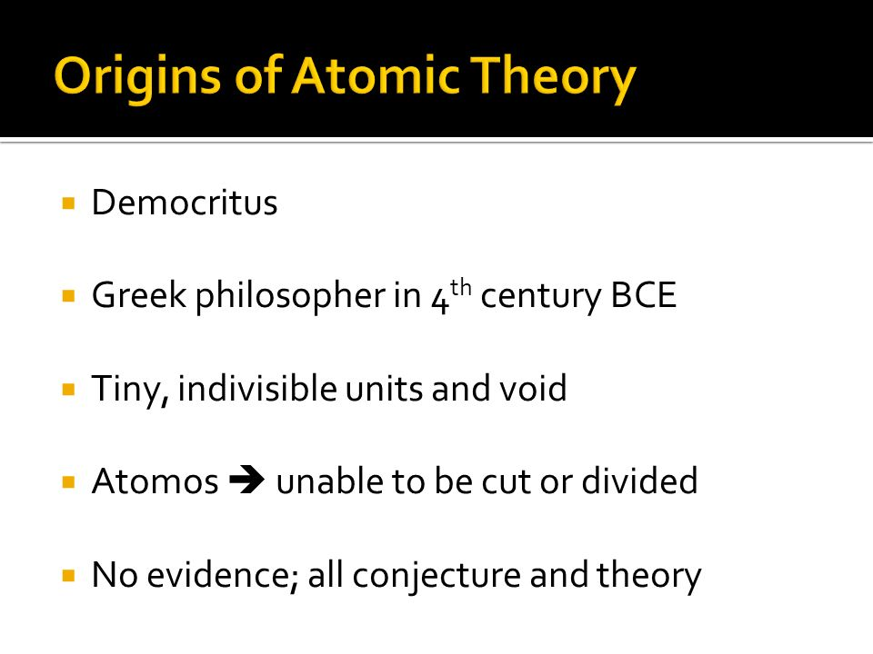 Origins of Atomic Theory