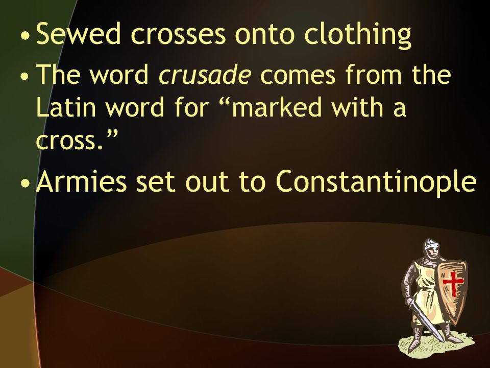 Sewed crosses onto clothing