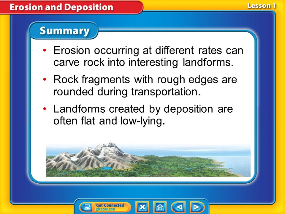 Rock fragments with rough edges are rounded during transportation.