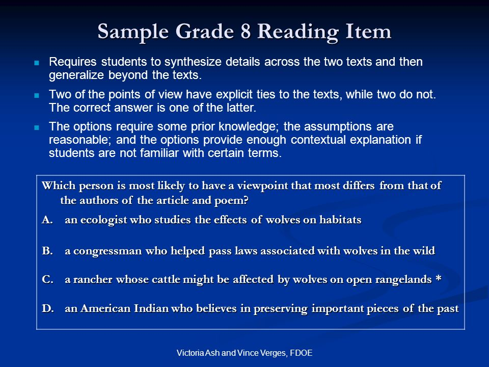 Sample Grade 8 Reading Item
