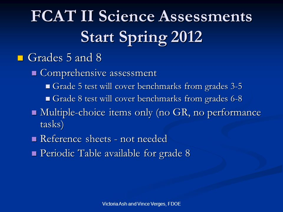 FCAT II Science Assessments Start Spring 2012