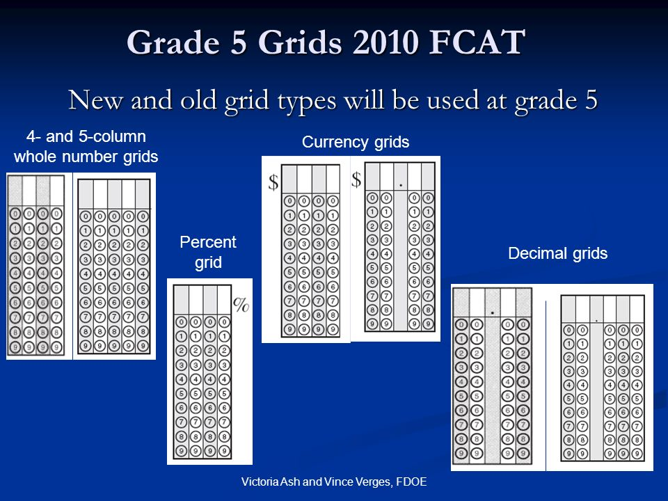 Grade 5 Grids 2010 FCAT New and old grid types will be used at grade 5