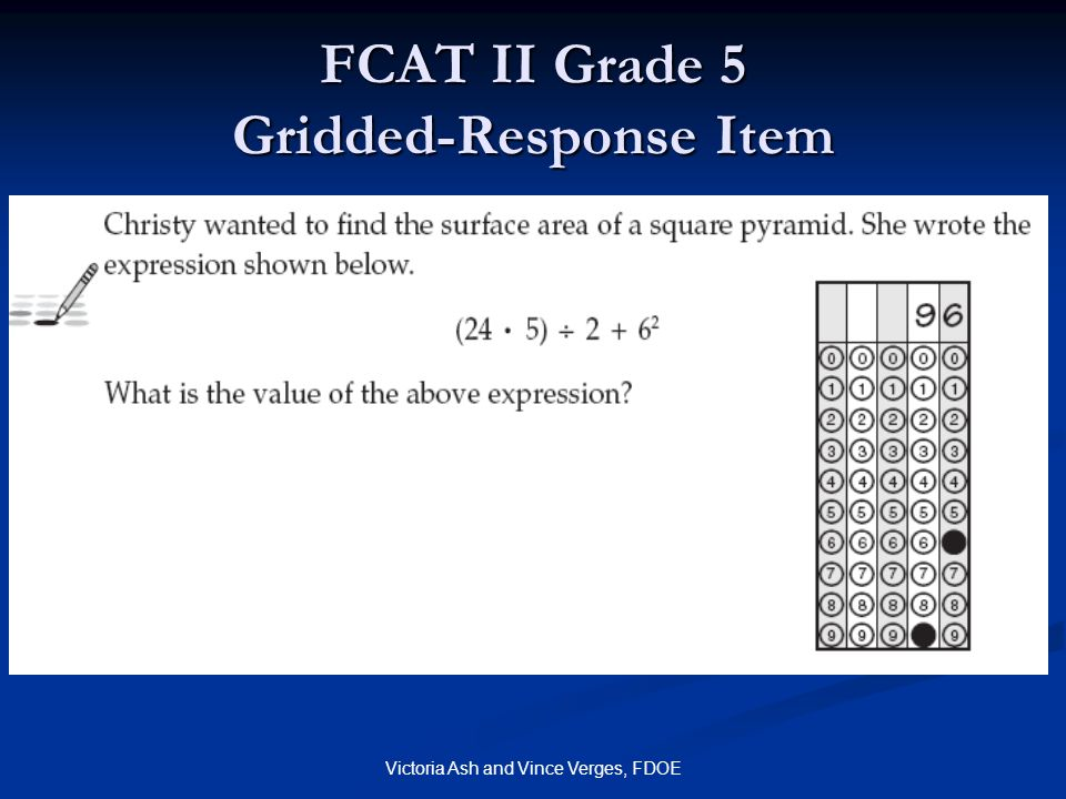 FCAT II Grade 5 Gridded-Response Item