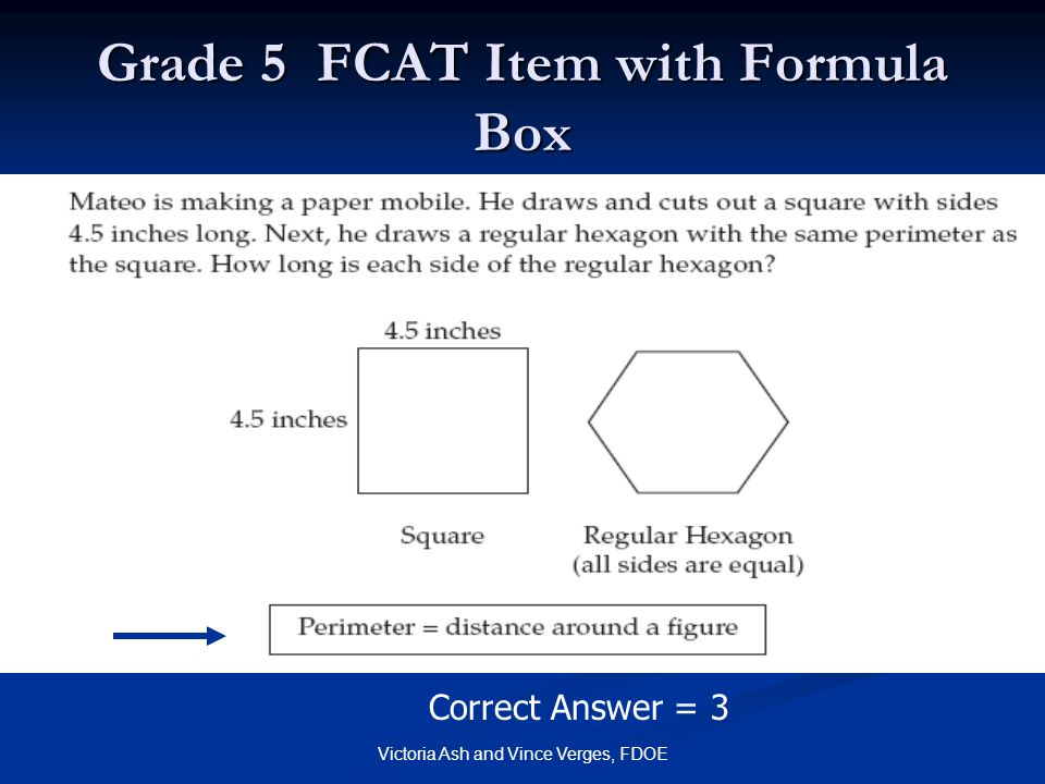 Grade 5 FCAT Item with Formula Box