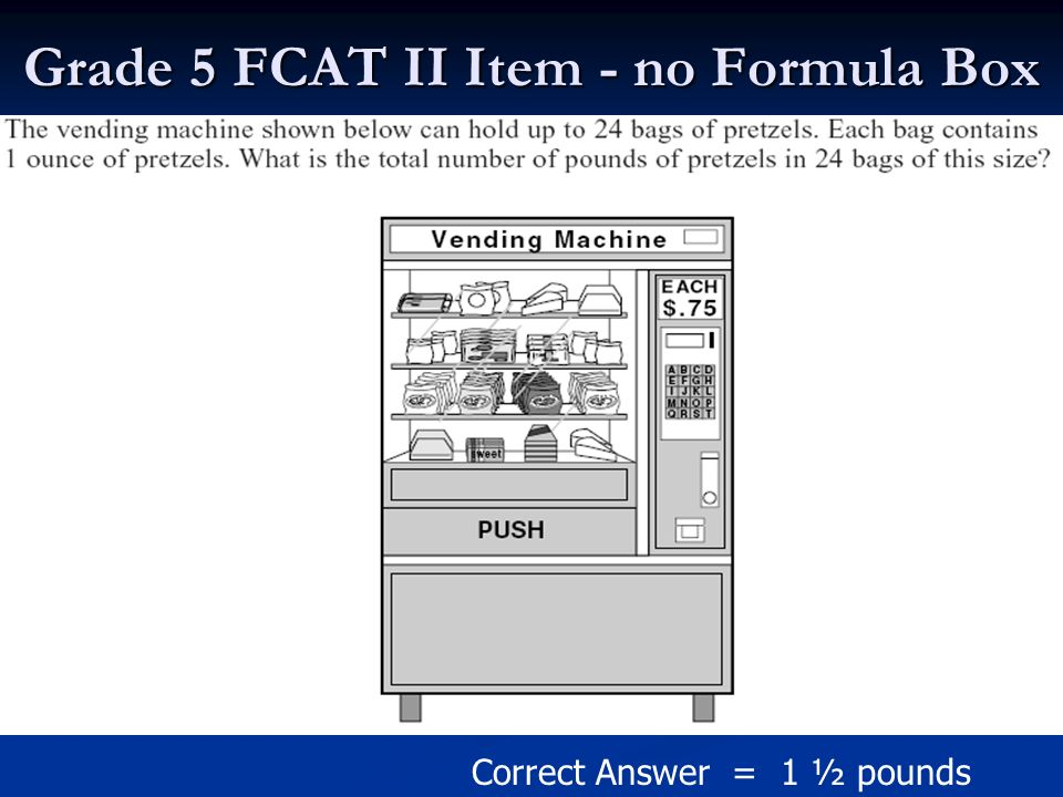 Grade 5 FCAT II Item - no Formula Box