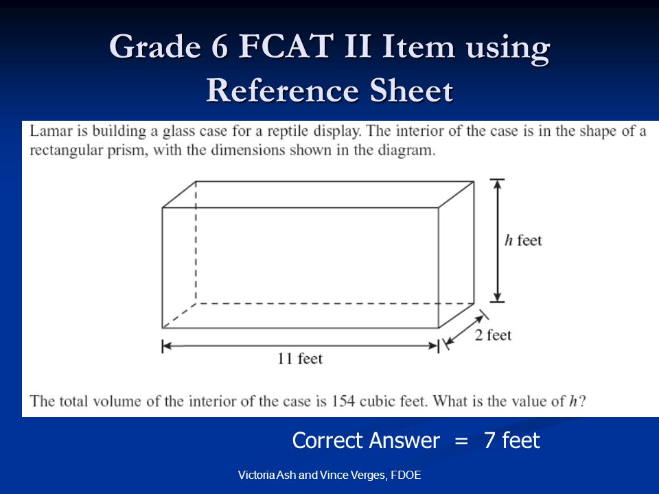 Grade 6 FCAT II Item using Reference Sheet