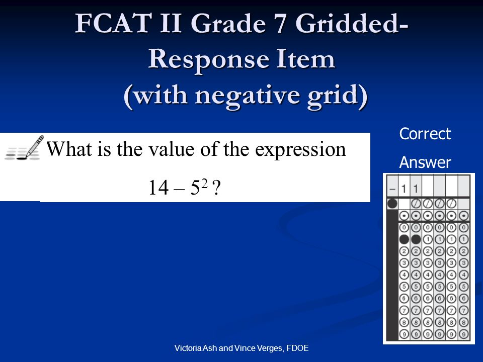 FCAT II Grade 7 Gridded-Response Item (with negative grid)