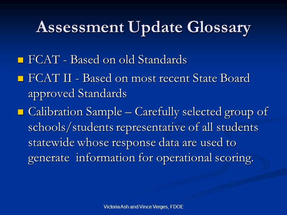 Assessment Update Glossary
