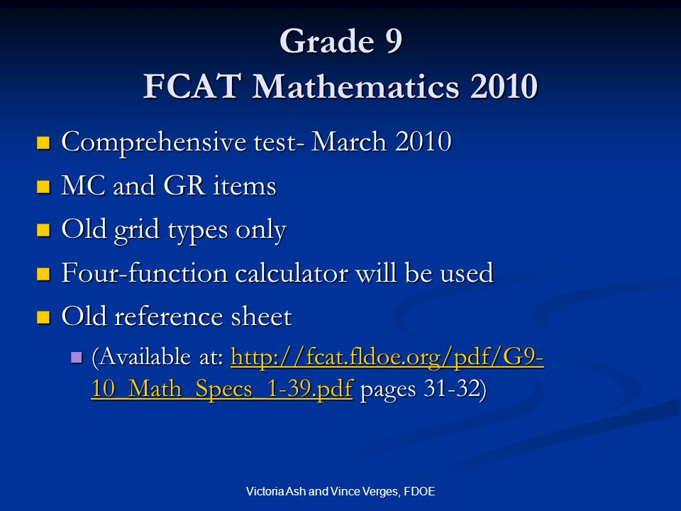 Grade 9 FCAT Mathematics 2010
