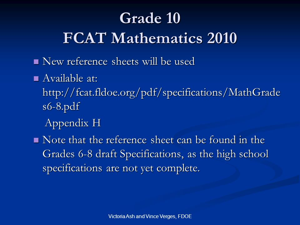 Grade 10 FCAT Mathematics 2010