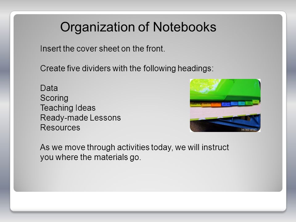 Organization of Notebooks