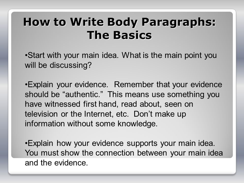 How to Write Body Paragraphs: The Basics