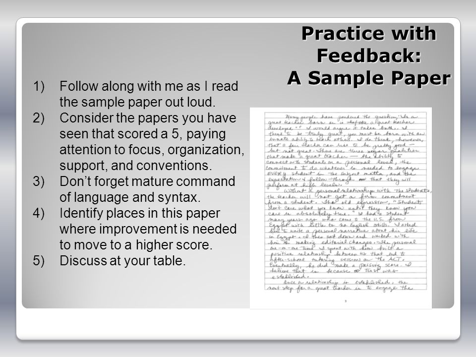 Practice with Feedback: A Sample Paper