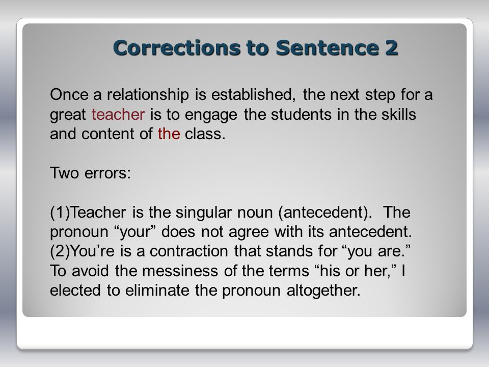 Corrections to Sentence 2