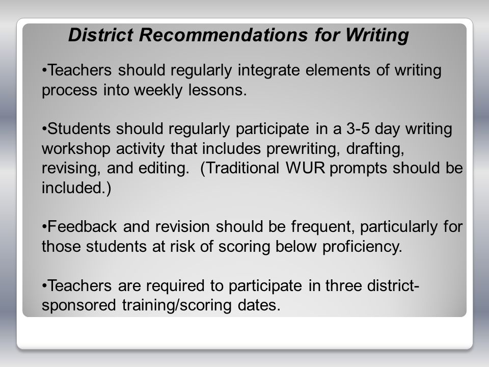 District Recommendations for Writing