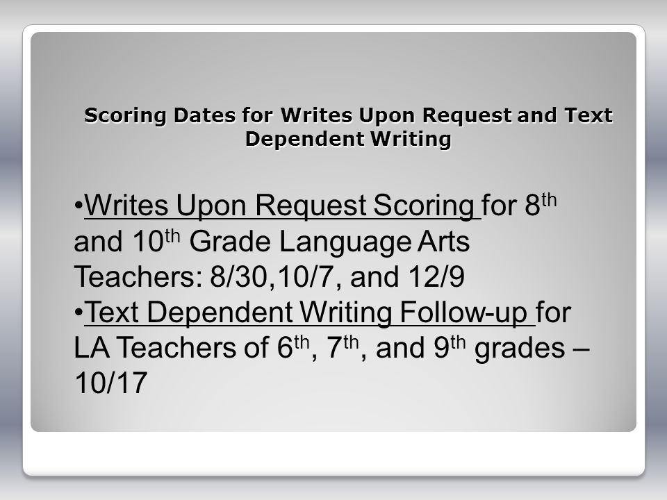 Scoring Dates for Writes Upon Request and Text Dependent Writing
