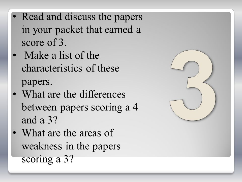 3 Read and discuss the papers in your packet that earned a score of 3.