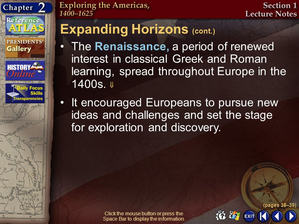 Expanding Horizons (cont.)