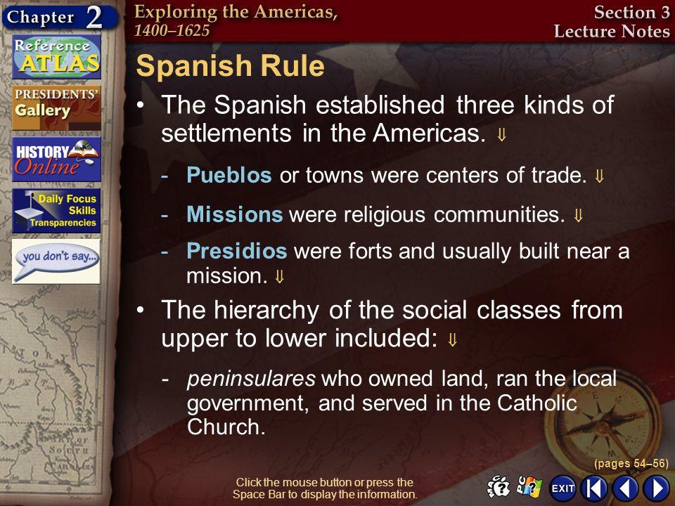 Spanish Rule The Spanish established three kinds of settlements in the Americas.  Pueblos or towns were centers of trade. 