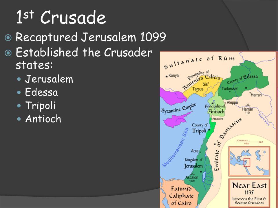 1st Crusade Recaptured Jerusalem 1099 Established the Crusader states: