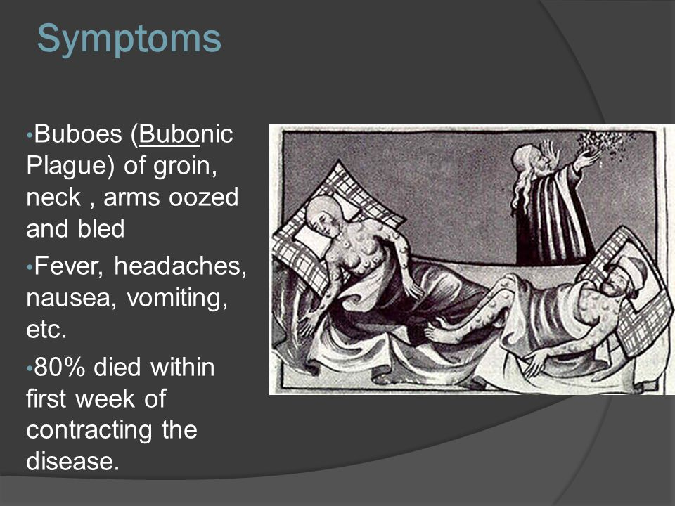 Symptoms Buboes (Bubonic Plague) of groin, neck , arms oozed and bled