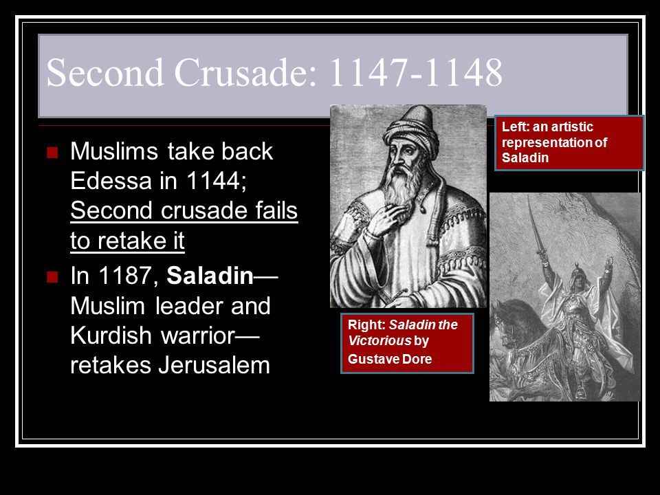 Second Crusade: Left: an artistic representation of Saladin. Muslims take back Edessa in 1144; Second crusade fails to retake it.