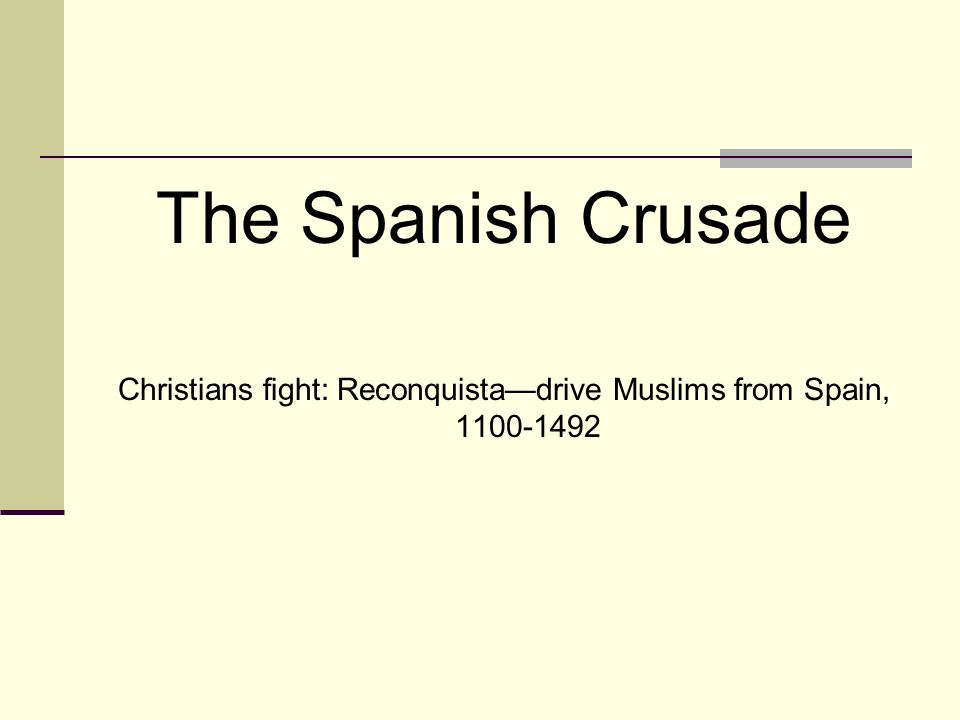 Christians fight: Reconquista—drive Muslims from Spain, 1100-1492