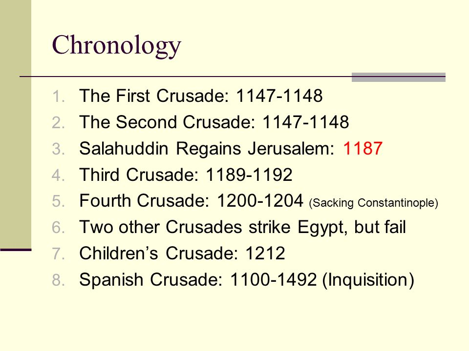 Chronology The First Crusade: The Second Crusade: