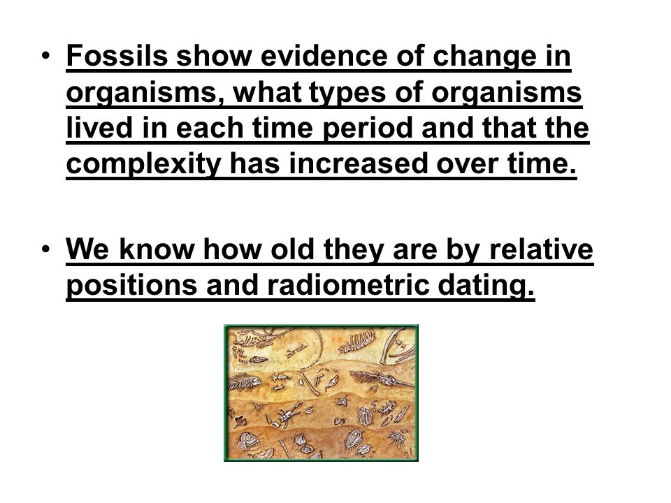 Fossils show evidence of change in organisms, what types of organisms lived in each time period and that the complexity has increased over time.