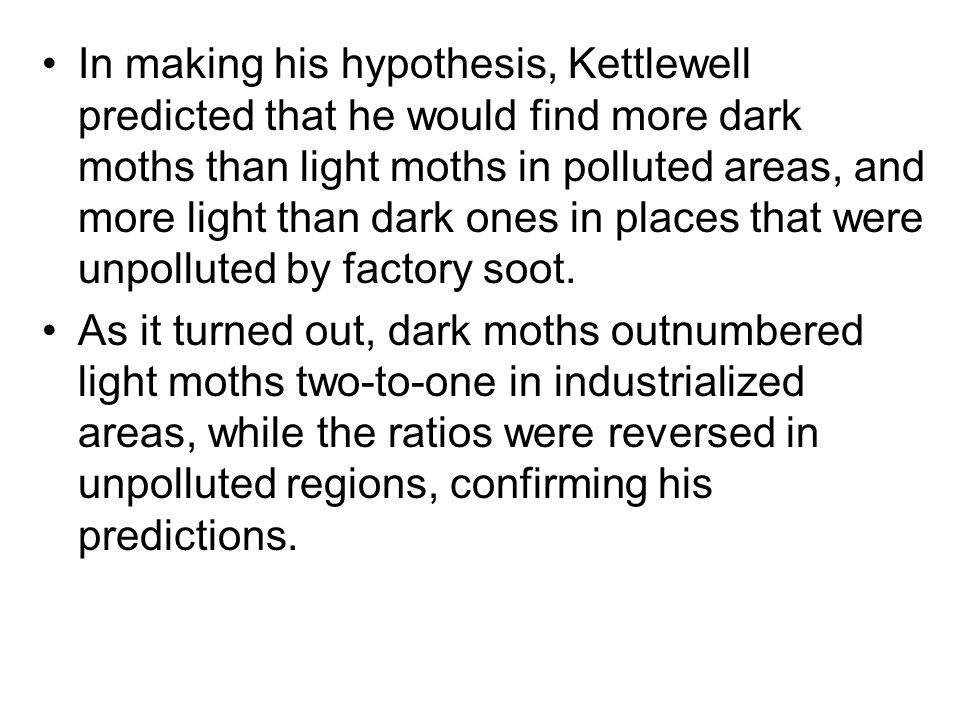In making his hypothesis, Kettlewell predicted that he would find more dark moths than light moths in polluted areas, and more light than dark ones in places that were unpolluted by factory soot.
