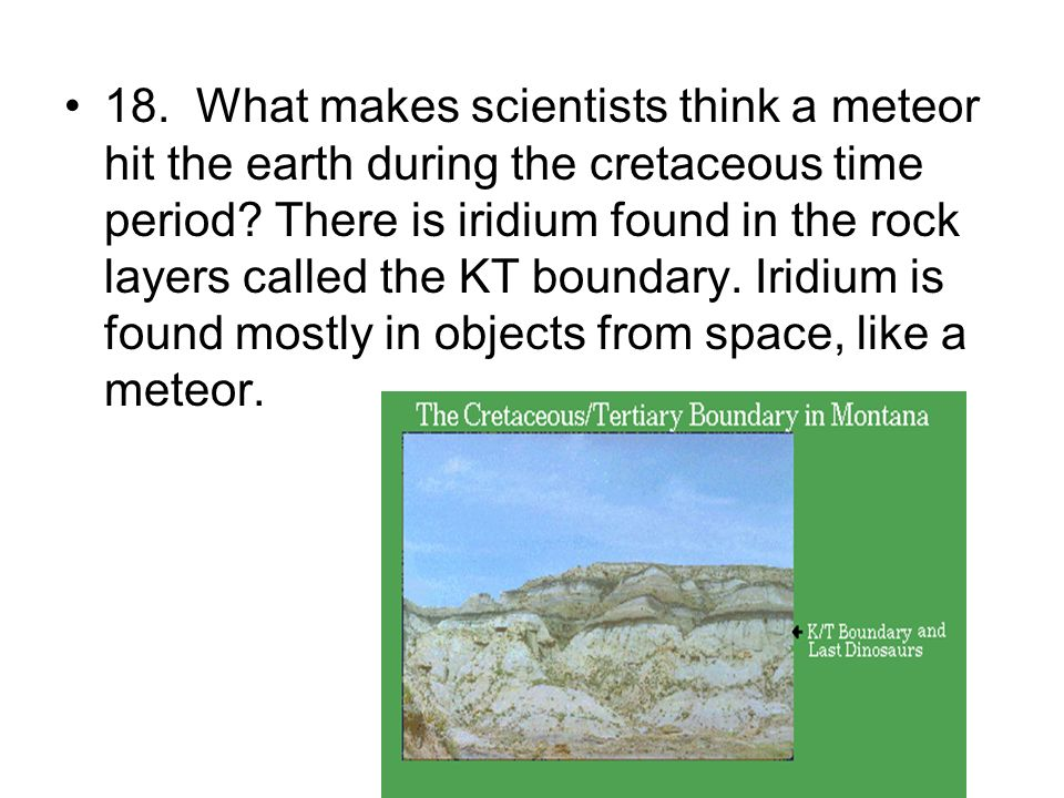 18. What makes scientists think a meteor hit the earth during the cretaceous time period.