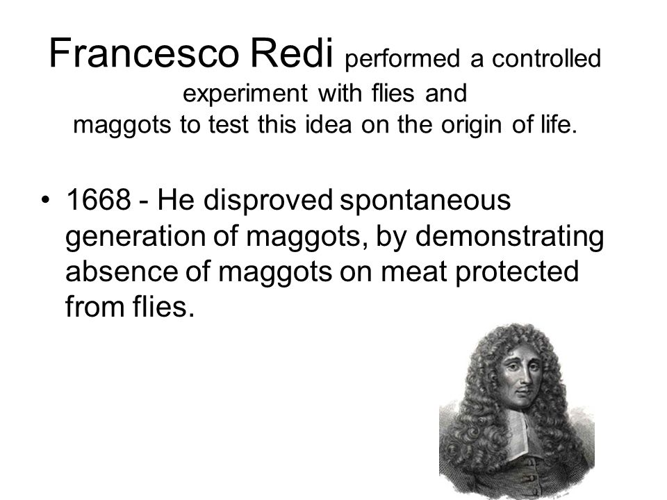 Francesco Redi performed a controlled experiment with flies and maggots to test this idea on the origin of life.