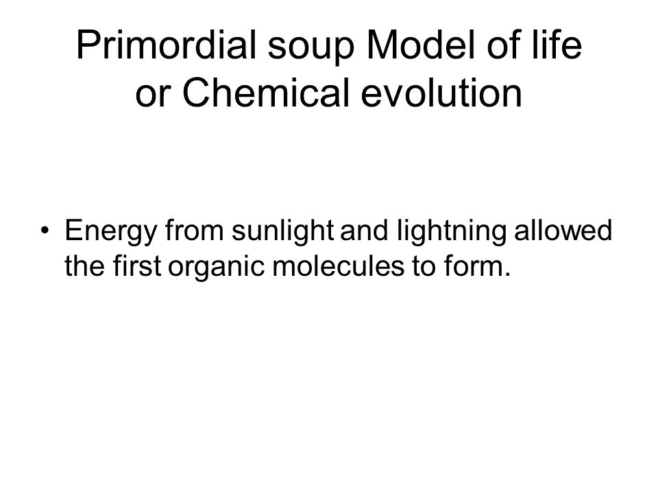 Primordial soup Model of life or Chemical evolution