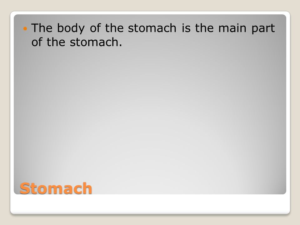 The body of the stomach is the main part of the stomach.