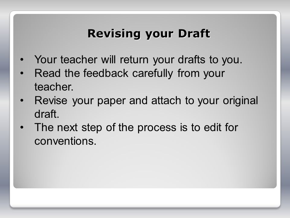 Your teacher will return your drafts to you.