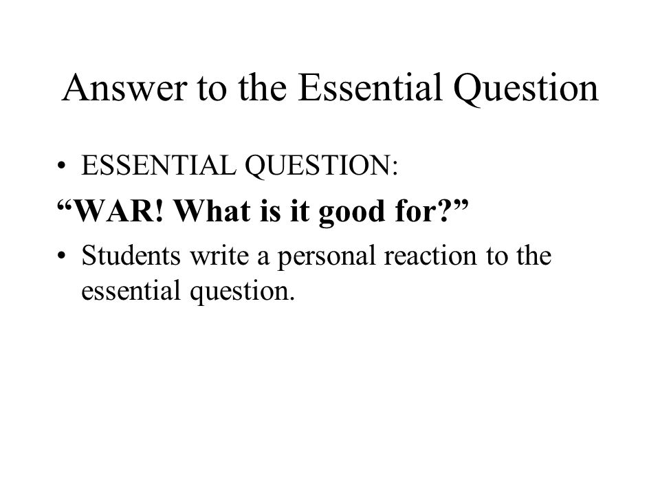 Answer to the Essential Question