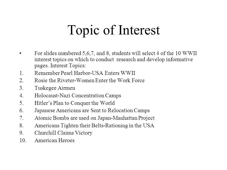 Topic of Interest