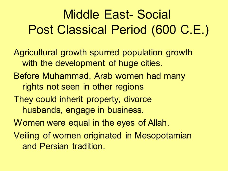 Middle East- Social Post Classical Period (600 C.E.)