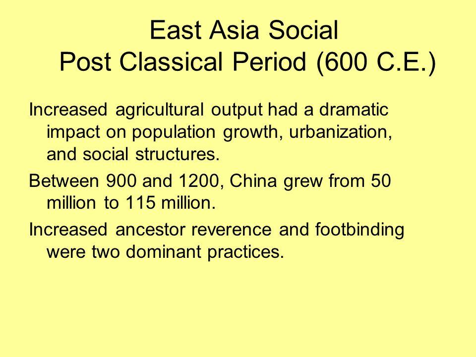 East Asia Social Post Classical Period (600 C.E.)