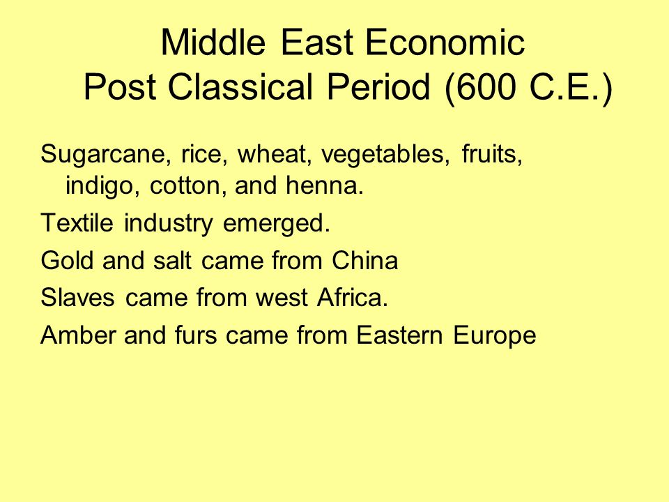 Middle East Economic Post Classical Period (600 C.E.)